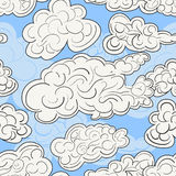 Hand drawn vector seamless pattern with white clouds on a bright blue sky. Modern stylish repeating decorative background. Stock Photo