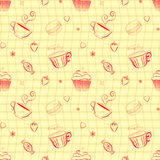 Hand drawn vector seamless patterns with outlines sweets and tea. Vector vintage seamless pattern with hand drawn cupcakes, teacups, sweets, berries and hearts vector illustration
