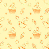 Hand drawn vector seamless patterns with outlines sweets and tea. Vector vintage seamless pattern with hand drawn cupcakes, teacups, sweets, berries and hearts Stock Images