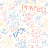 Hand drawn vector seamless princess pattern Stock Images