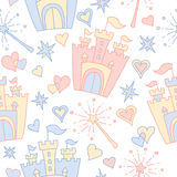 Hand drawn vector seamless princess pattern Stock Photography