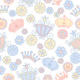 Hand drawn vector seamless princess pattern Royalty Free Stock Photos