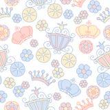 Hand drawn vector seamless princess pattern Royalty Free Stock Photos