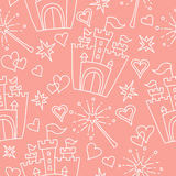 Hand drawn vector seamless princess pattern Royalty Free Stock Images