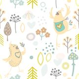 Hand drawn vector seamless background with merry happy in love birdies. scandinavian style background Stock Photography