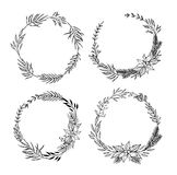 Hand drawn vector set of Christmas wreaths .Christmas design ele Royalty Free Stock Images