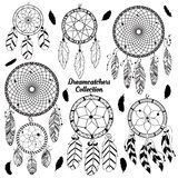 Hand drawn vector set with dreamcatchers. Native american indian traditional symbols, tribal and ethnic boho theme stock photography