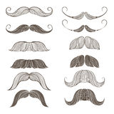 Hand Drawn Vector Set of Mustache Stock Images