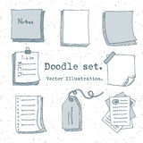 Hand drawn vector set of paper sheet, pack of paper, tag, sticky note, notepad page with pin, scotch tape and paperclip. Doodle st Stock Image