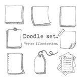 Hand drawn vector set of paper sheet, pack of paper, tag, sticky note, notepad page with pin, scotch tape and paperclip. Doodle st Royalty Free Stock Image