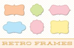 Retro Frame Borders Set. A hand drawn vector set of six cute stitched frames royalty free illustration