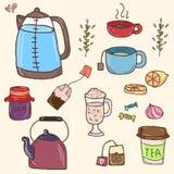 Hand drawn vector set of tea essentials - cups. Pot and sweets vector illustration