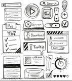 Hand drawn vector set of user interface design Royalty Free Stock Photos