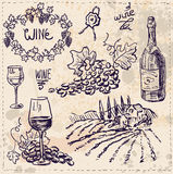 Hand drawn vector set - wine and wine making Stock Photography