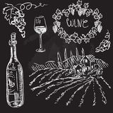 Hand drawn vector set - wine and winemaking. Chalkboard royalty free illustration