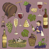 Hand drawn vector set - wine and winemaking Stock Photos