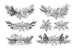 Hand drawn vector set of winter wreaths  laurel, leaf, holly, f Royalty Free Stock Photography