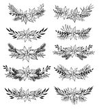 Hand drawn vector set of winter wreaths  laurel, leaf, holly, f Royalty Free Stock Photos