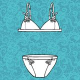Hand drawn vector sexy lingerie set. Royalty Free Stock Photos