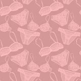 Hand drawn vector sexy lingerie set. Royalty Free Stock Photo