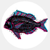 Hand drawn vector simple fish isolated, seafood graphic element. Royalty Free Stock Image