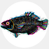 Hand drawn vector simple fish isolated, seafood graphic element. Stock Photos