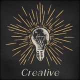 Hand drawn vector sketch illustration - creative vintage tee shirt apparel print poster design, realistic light bulb. With sunburst, black chalkboard grunge Stock Photography