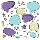 Speech bubbles set. Hand drawn vector sketch speech bubbles set Royalty Free Stock Images