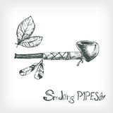 Hand drawn vector smoking indian pipe, sketchy engraving style. Royalty Free Stock Images