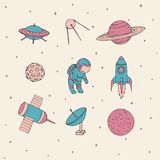 Hand drawn vector space elements: cosmonaut, satellites, rocket, planets, moon and UFO. Cute cosmos Stock Images