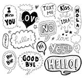 Hand drawn vector speech bubbles Royalty Free Stock Images