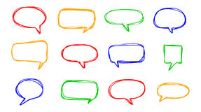 Hand-drawn vector speech bubbles sketchy doodle set Stock Photo