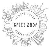 Hand drawn vector spice shop emblem Royalty Free Stock Photography