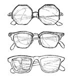 Hand drawn vector sunglasses. Line art. Illustration of sunglasses .Summer time.Ink. feather Stock Image