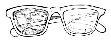 Hand drawn vector sunglasses. Line art Stock Photography