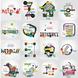 Hand-drawn vector symbols with infographic. Elements, stickers and keywords on icon Stock Images