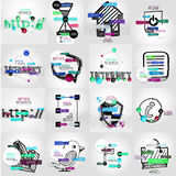 Hand-drawn vector symbols with infographic. Elements, stickers and keywords on icon Royalty Free Stock Images