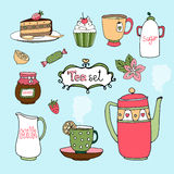 Hand-drawn vector tea set and cake icons. With a kettle or teapot  cup and saucer  lemon  honey in a jar  cake  cupcake  candy  sugar bowl and milk jug on a Royalty Free Stock Photo