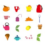 Hand drawn vector  of Tea Time collection. Royalty Free Stock Photos