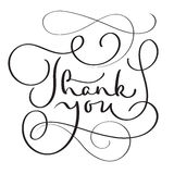 Hand drawn Vector Thank you text on white background. Calligraphy lettering illustration EPS10 Royalty Free Stock Photos