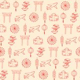 Hand drawn vector travel to asia seamless pattern containing oriental elements red contours. Ornament on the beige background. Hand drawn vector travel to asia Stock Photography