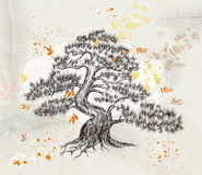 Hand drawn vector tree on an old paper vector illustration Royalty Free Stock Photos