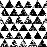 Hand drawn vector triangle ornament grunge seamless pattern. Abs. Tract black and white geometric texture background Stock Photography