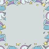 Hand Drawn Vector Unicorns, . Magic creatur. Hand Drawn Vector Unicorns, comets, stars, clouds. Magic creature.  Seamless border Royalty Free Stock Images