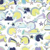Hand Drawn Vector Unicorns. Seamless pattern. For textile, wallpaper, covers Stock Image
