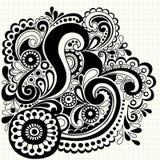 Hand-Drawn Vector van de Wervelingen van de Krabbel Stock Afbeelding