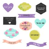 Set of hand drawn shapes with different letterings . Hearts, banners, circles and ribbons etc. royalty free illustration