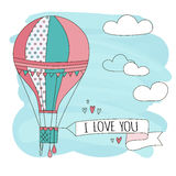 Hand drawn vector vintage cute air balloon in sky with clouds and sign i love you. Adventure dream illustration Stock Photography