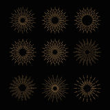 Hand Drawn vector vintage elements - gold sunburst Stock Photography
