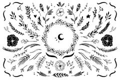 Hand Drawn vector vintage elements Stock Image